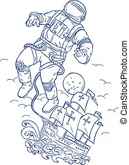 Astronaut Tethered Caravel Ship Drawing - Drawing sketch...