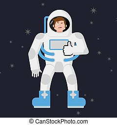 Astronaut Thumbs up shows well. Cosmonaut winks. Sign all right. Jolly Good astronaut. Mimicry smile on his face. Gesture of hand in order. Open dark space and stars