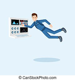Astronaut training flat vector illustration. Cosmonaut pressing button on spaceship control panel cartoon character. Spaceman floating in zero gravity, outer space mission isolated