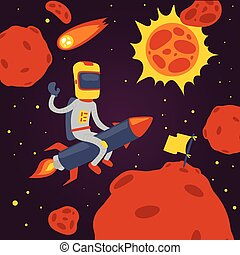 Astronaut vector cosmonaut cartoon spaceman character in helmet flying on rocket in space cosmos backdrop universe galaxy adventure man among planets on spaceship illustration background