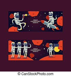 Astronaut vector cosmonaut cartoon spaceman character in space cosmos backdrop universe galaxy adventure man in helmet on rocket among planets spaceship illustration background set