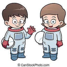 Astronaut - Vector illustration of Cartoon astronaut kids