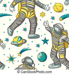 Astronaut vector seamless pattern.