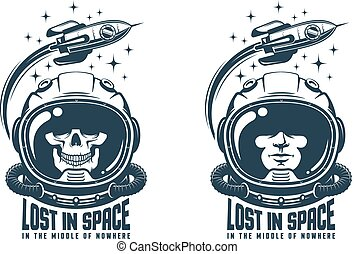 Astronaut vintage logo. Space helmet with flying rocket emblem