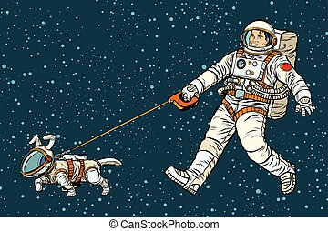 astronaut walking dog in a space suit