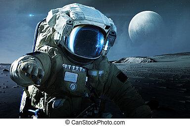 Astronaut walking on an unexplored planet. Elements...