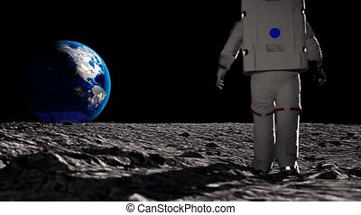Astronaut walking on the moon and admiring the beautiful Earth. CG Animation