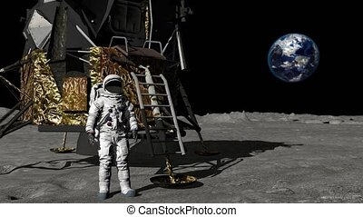 Astronaut walking on the moon and waving his hand. Some...