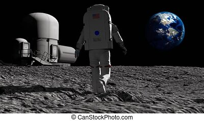 Astronaut walking on the moon near the lunar station and...