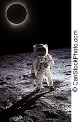 Astronaut walking on the moon, space and planet in the background. N.A.S.A. Image edited