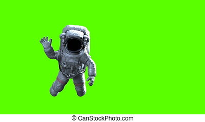 Astronaut Waves on a Green Background. High Detailed 3d ...