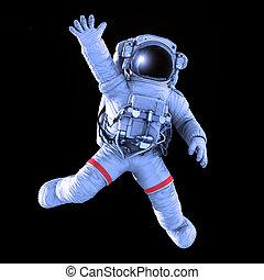 Astronaut waving, 3d render - Astronaut waving on a black...