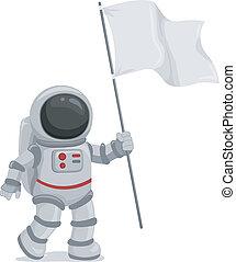 Astronaut Waving Flag - Illustration of an Astronaut Wearing...