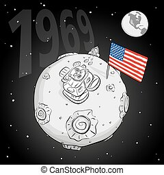 astronaut whith flag USA on the moon bw