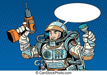 Astronaut with a drill and flashlight pop art retro style....