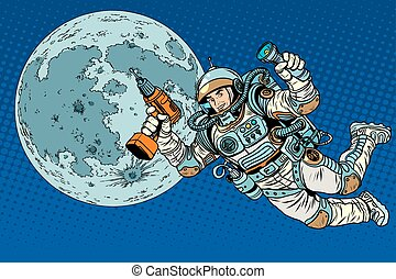 Astronaut with a drill and flashlight on the Moon pop art...