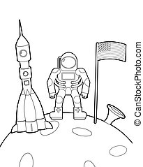 Astronaut with a flag on moon. Space rocket ship coloring book. Vector illustration