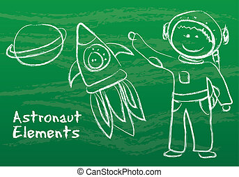 astronaut with elements over green background. vector