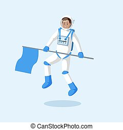 Astronaut with flag floating flat illustration. Male cosmonaut, explorer, traveler flying in zero gravity and waving hand cartoon vector character. Space mission, alien planet, moon landing