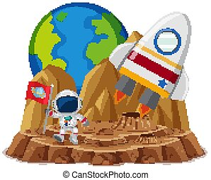 Astronaut with flag in the planet cartoon style on white background