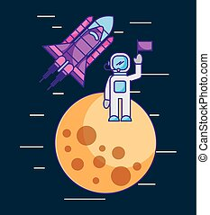astronaut with flag on another planet space mission rocket