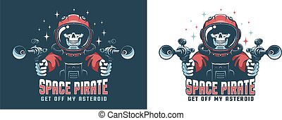 Astronaut with laser gun. Space pirate skull with blaster