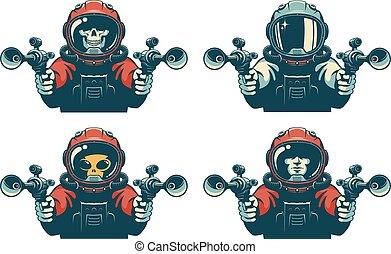 Astronaut with laser gun. Space warrior with blaster