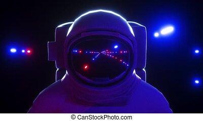 Astronaut With neon laser Lights In dark space 4K