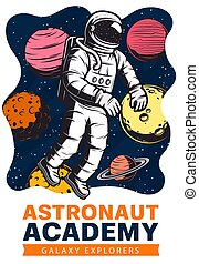 Astronaut with planets, space suit and helmet