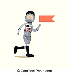 Astronaut with red flag flat vector illustration