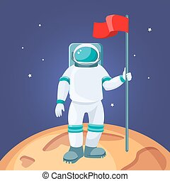Astronaut with red flag on moon. Cosmonaut in space suit
