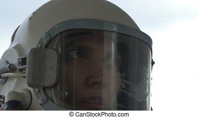 Astronaut Woman Communicating - Close up shot of female...
