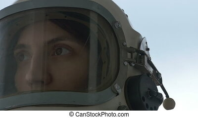 Astronaut Woman is Smiling - Close up shot of woman...