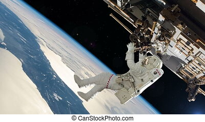 Astronaut working on space station