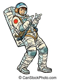 Astronaut young man points. isolate on a white background