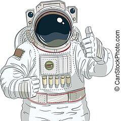 astronauta, aprobar, gesto