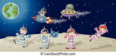 astronauta, caracteres, caricatura