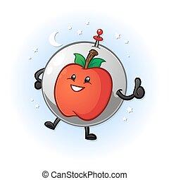 astronauta, caricatura, personagem, maçã, espaço
