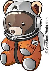 astronauta, caricatura, urso, pelúcia