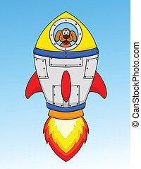 astronauta, cartone animato, cane