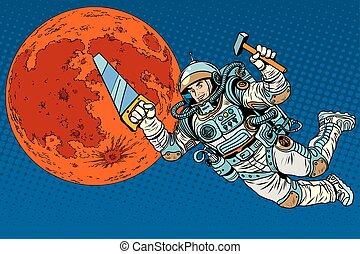 astronauta, con, herramientas, para, edificio, un, colonia, en, marte