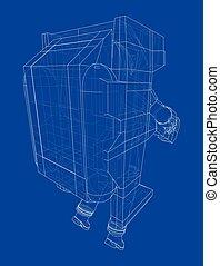 astronauta, concept., interpretación, vector, 3d