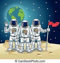 astronauta, diseño, caricatura, espacio