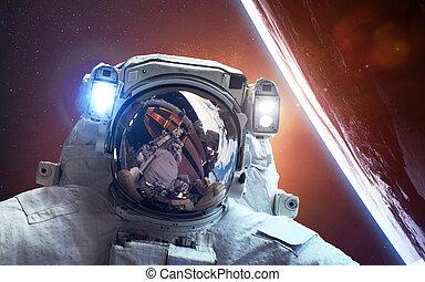 astronauta, en, espacio, encima, el, planeta, earth., elementos, de, esto, imagen, amueblado, por, nasa