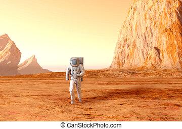 astronauta, en, marte