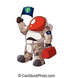 astronauta, en, un, traje