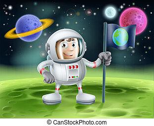 astronauta, exterior, caricatura, espacio