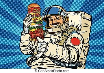 astronauta, gigante, hamburger, mustachioed