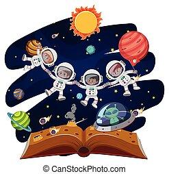 astronauta, livro, grupo, abertos