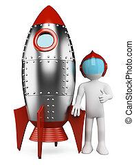 astronauta, personas., 3d, nave espacial, blanco